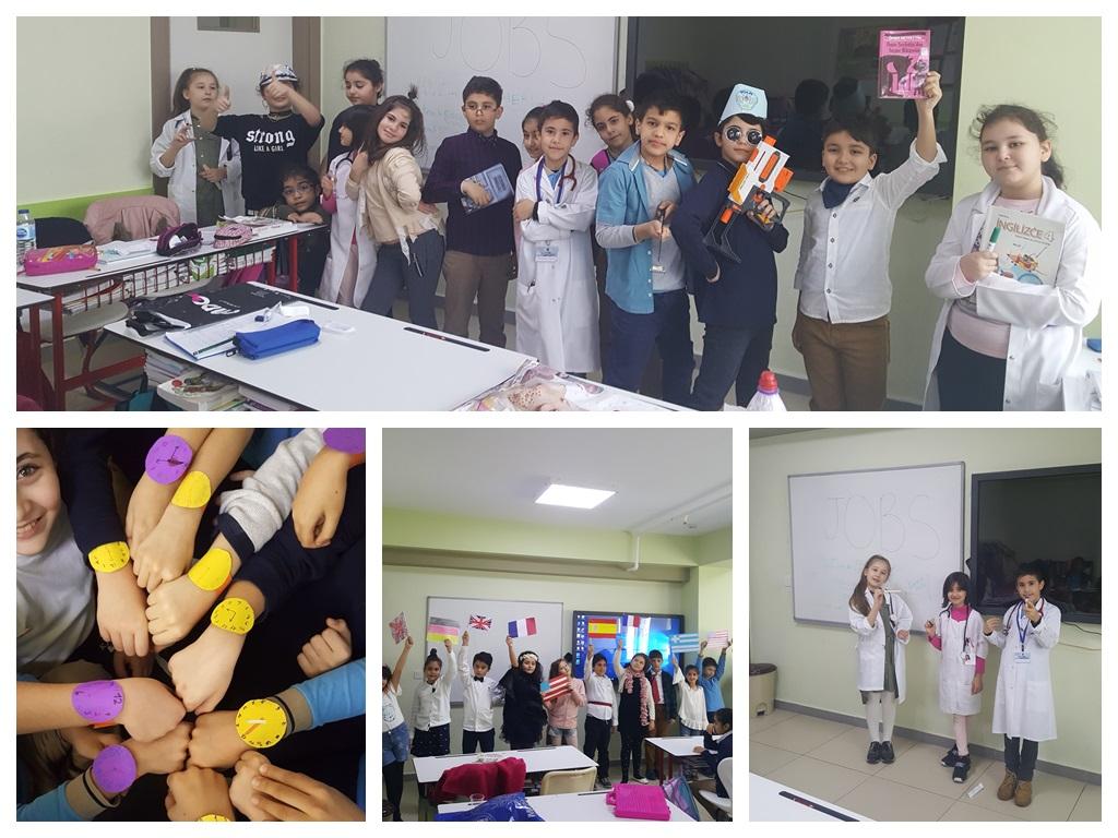 Derslerimizde İngilizceyi yaşayarak ve eğlenerek öğreniyoruz.